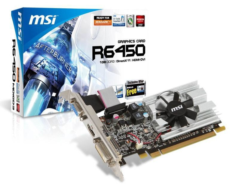Видеокарта MSI R6450-MD1GD3/LP,  R6450-MD1GD3/LP V2,  1Гб, DDR3, Low Profile,  Ret