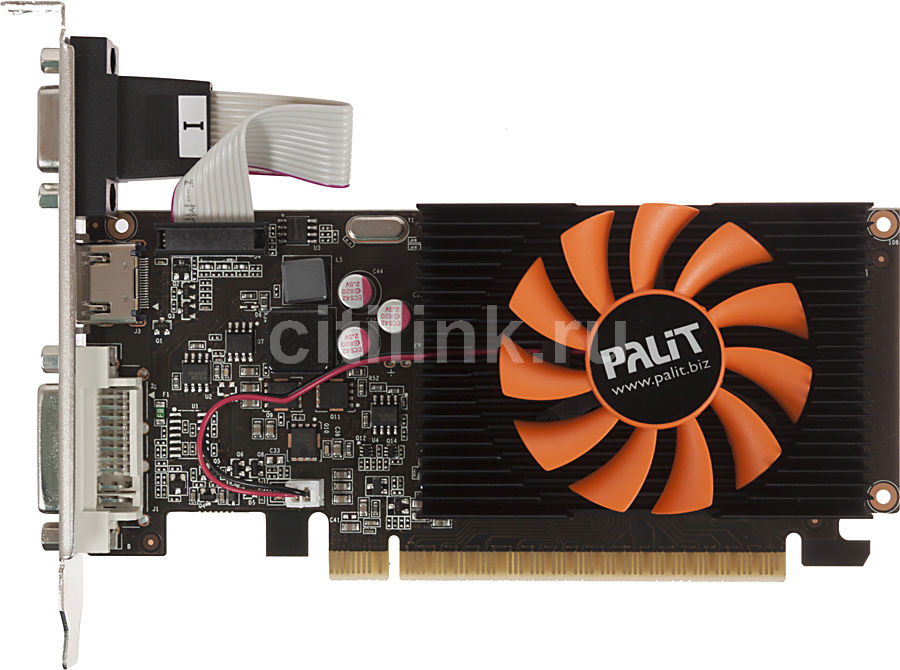 Видеокарта PALIT GeForce GT 620,  2Гб, DDR3, Low Profile,  Ret [neat6200hd46-108xf]