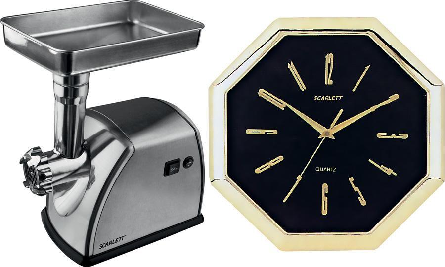 Мясорубка SCARLETT SC1149 + часы SC-45F,  серый