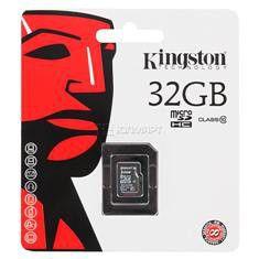 Карта памяти microSDHC KINGSTON 32 ГБ, Class 10, SDC10/32GBSP,  1 шт.