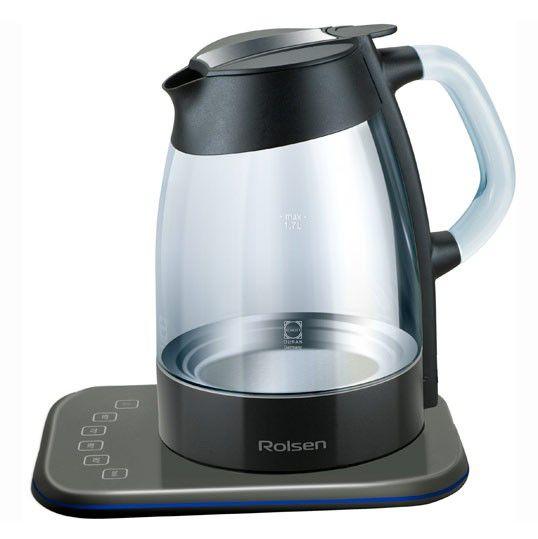Чайник электрический ROLSEN RK-3716GDB, 2200Вт, черный