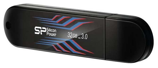 Флешка USB SILICON POWER Blaze B10 32Гб, USB3.0, черный и синий [sp032gbuf3b10v1b]