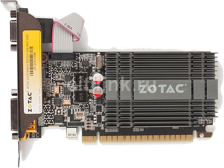Видеокарта ZOTAC GeForce 210,  1Гб, DDR3, Low Profile,  oem [zt-20313-10sib]