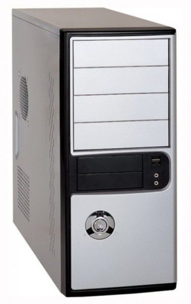 Корпус ATX FOXCONN TLA-486, 400Вт,  черный и серебристый