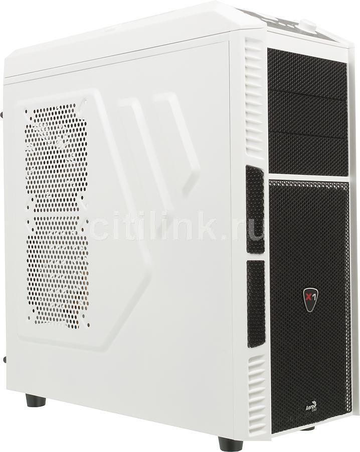 Корпус ATX AEROCOOL Xpredator X1 White Edition, Midi-Tower, без БП,  белый и черный