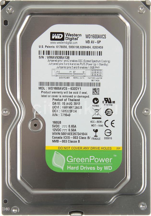 Жесткий диск WD AV-GP WD1600AVCS,  160Гб,  HDD,  SATA II,  3.5