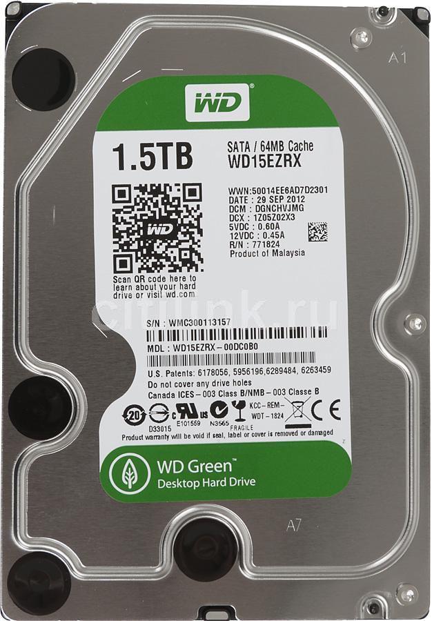 Жесткий диск WD Caviar Green WD15EZRX,  1.5Тб,  HDD,  SATA III,  3.5