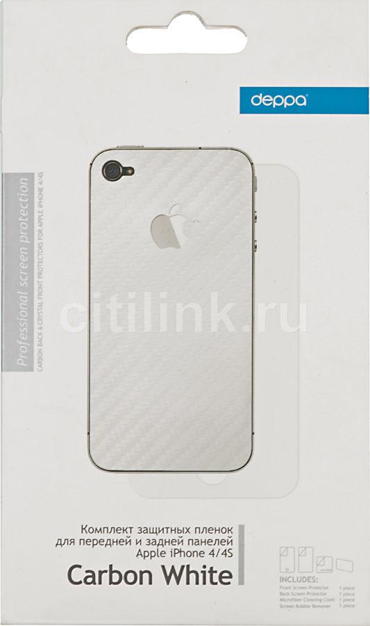 Защитная пленка для экрана и задней крышки DEPPA Carbon White  для Apple iPhone 4/4S,  прозрачная [61169]