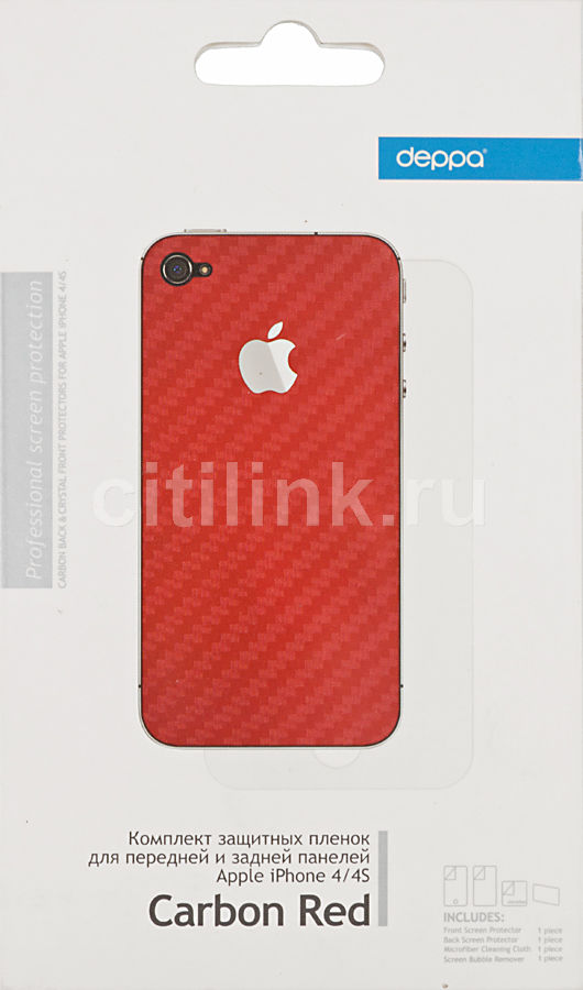 Защитная пленка DEPPA Carbon Red  для Apple iPhone 4/4S [61168]