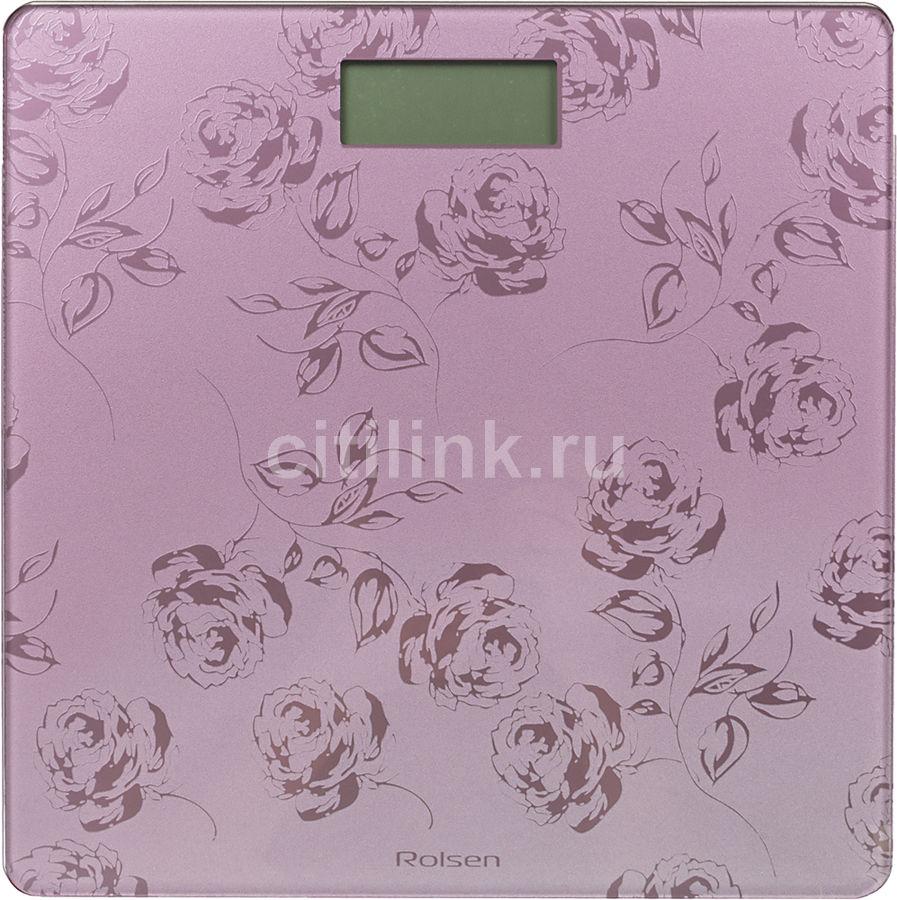 Весы ROLSEN RSL1804, до 150кг, цвет: фиолетовый/рисунок [rsl1804 flower]