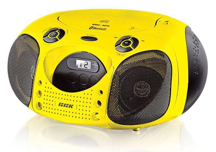 Аудиомагнитола BBK BX110BT,  желтый и черный