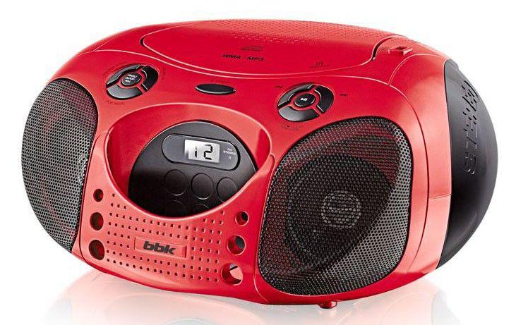 Аудиомагнитола BBK BX110U,  красный и черный