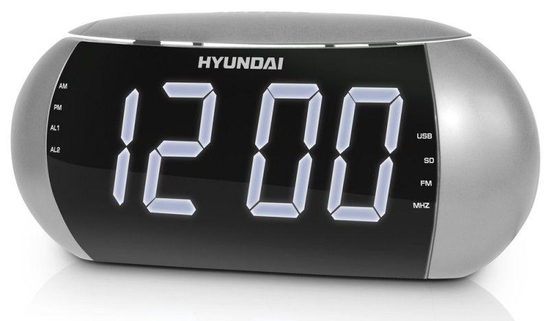 Радиобудильник HYUNDAI H-1550, белая подсветка,  серебристый