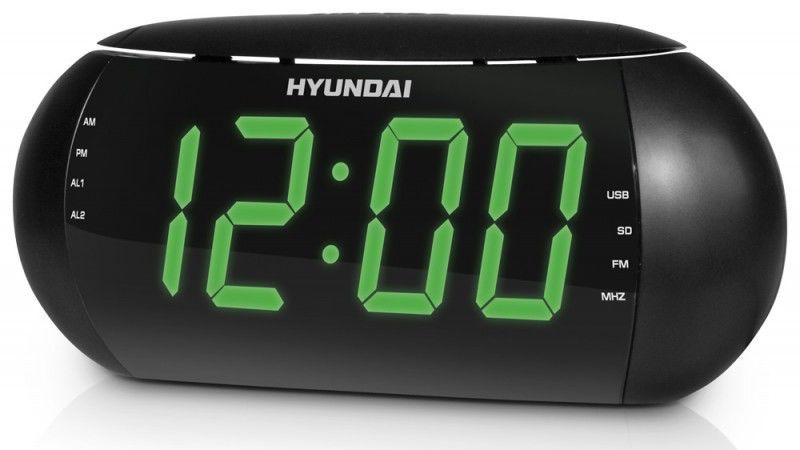 Радиобудильник HYUNDAI H-1550, зеленая подсветка,  черный