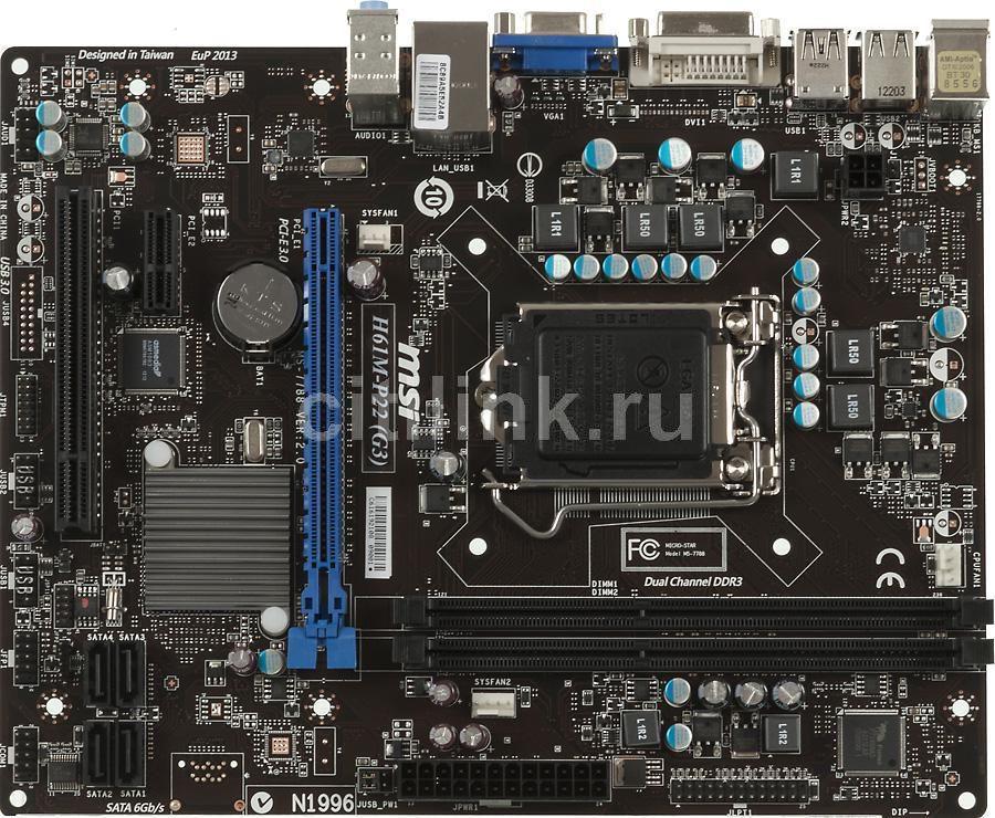 Материнская плата MSI H61M-P22 (G3), LGA 1155, Intel H61(B3), mATX, Ret