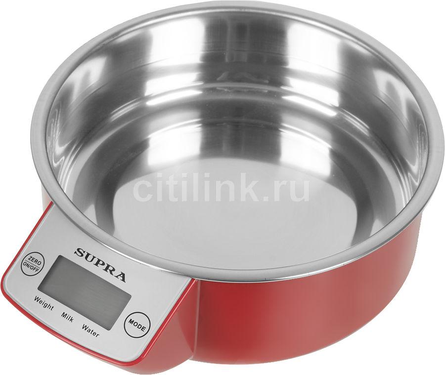 Весы кухонные SUPRA BSS-4090,  красный