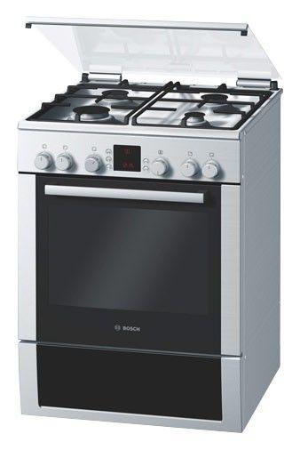 Газовая плита BOSCH HGV745355R,  электрическая духовка,  серебристый