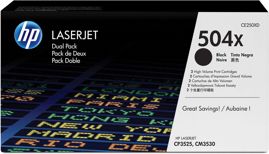 Двойная упаковка картриджей HP 504X черный [ce250xd]