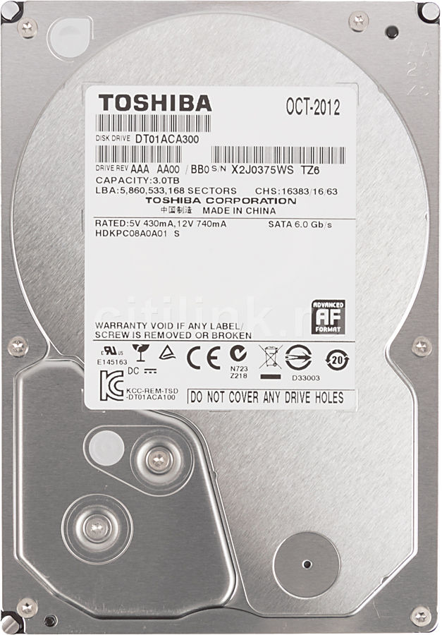 "Жесткий диск TOSHIBA DT01ACA300,  3Тб,  HDD,  SATA III,  3.5"""