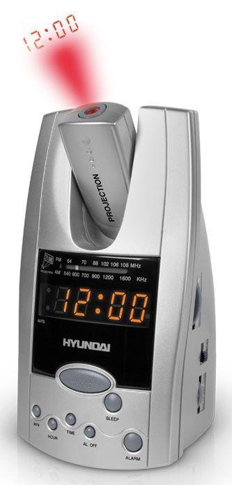 Радиобудильник HYUNDAI H-1506, оранжевая подсветка,  серебристый