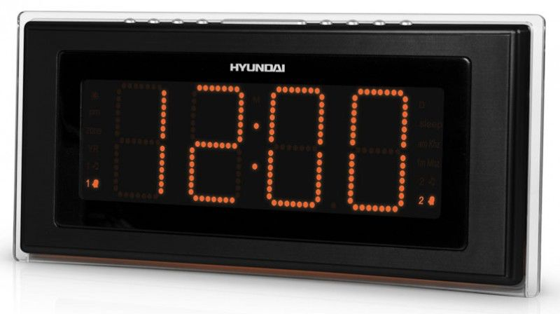 Радиобудильник HYUNDAI H-1541, оранжевая подсветка,  черный