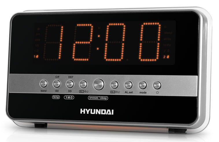Радиобудильник HYUNDAI H-1549, оранжевая подсветка,  серебристый