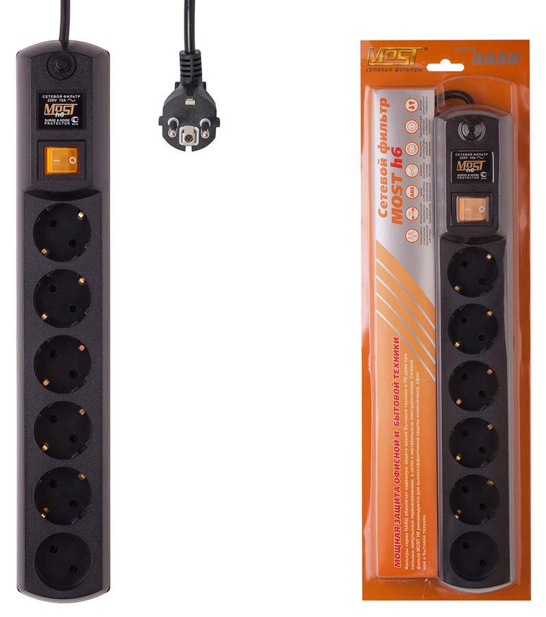 Сетевой фильтр MOST H6, 5м, черный [н6]