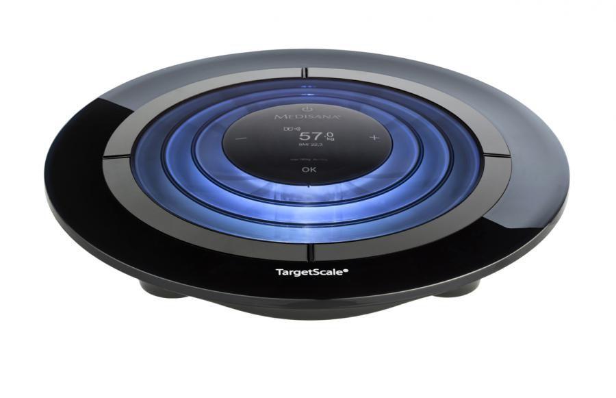 Весы MEDISANA Target Scale, до 180кг, цвет: черный/голубой [40417]