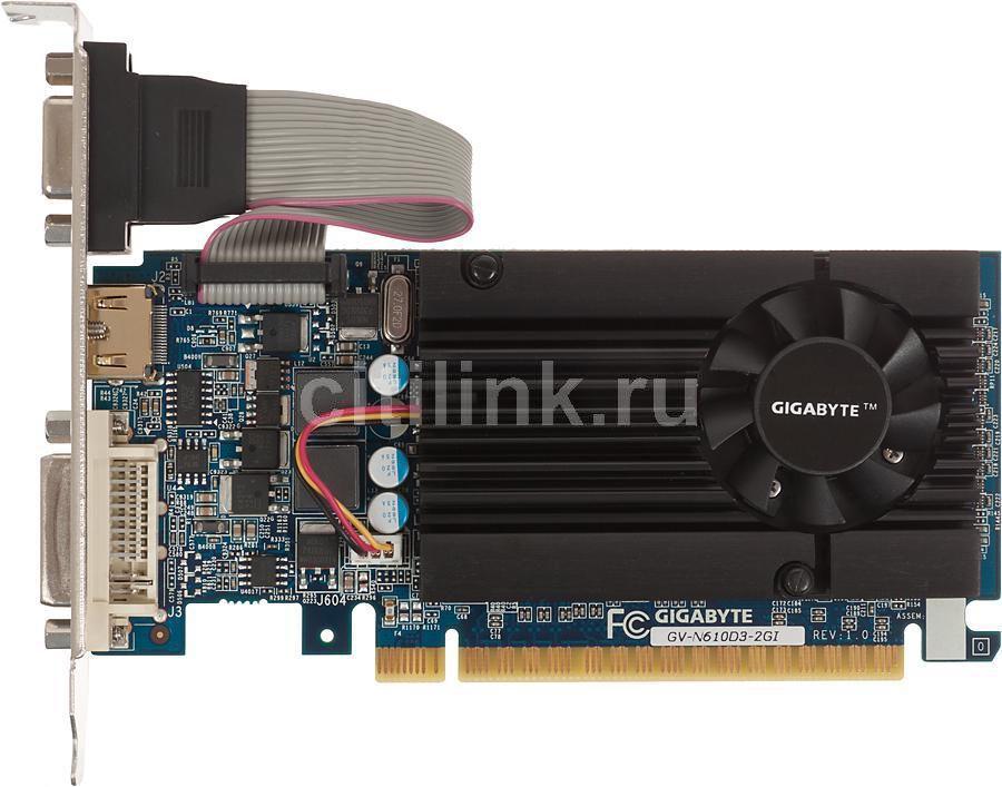 Видеокарта GIGABYTE GeForce GT 610,  GV-N610D3-2GI,  2Гб, DDR3, Low Profile,  Ret