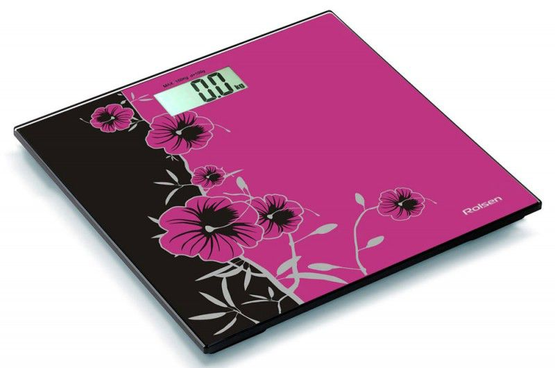 Весы ROLSEN RSL1508 flower, до 150кг, цвет: розовый/черный