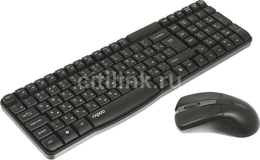 Комплект (клавиатура+мышь) RAPOO X1800, USB, беспроводной, черный [11566]