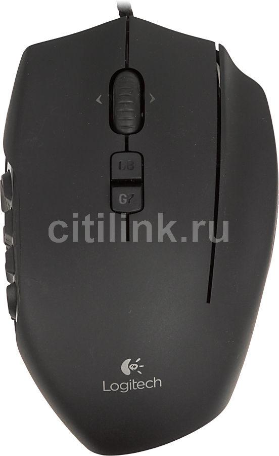 Мышь LOGITECH G600 лазерная проводная USB, черный [910-002865]