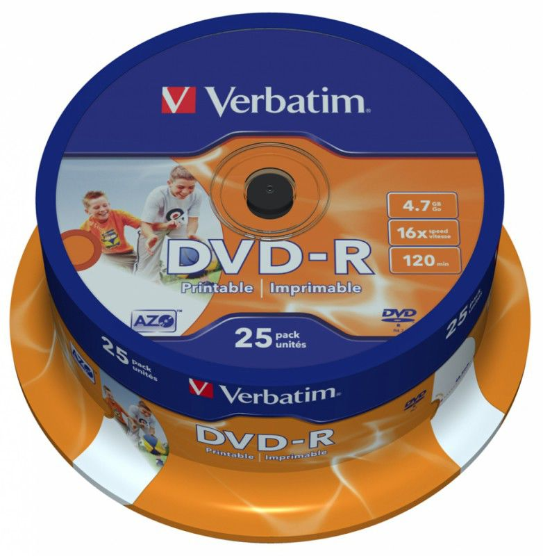 Оптический диск DVD-R VERBATIM 4.7Гб 16x, 25шт., cake box, printable [43538] dvd r vs 4 7gb 16х 10шт cake box