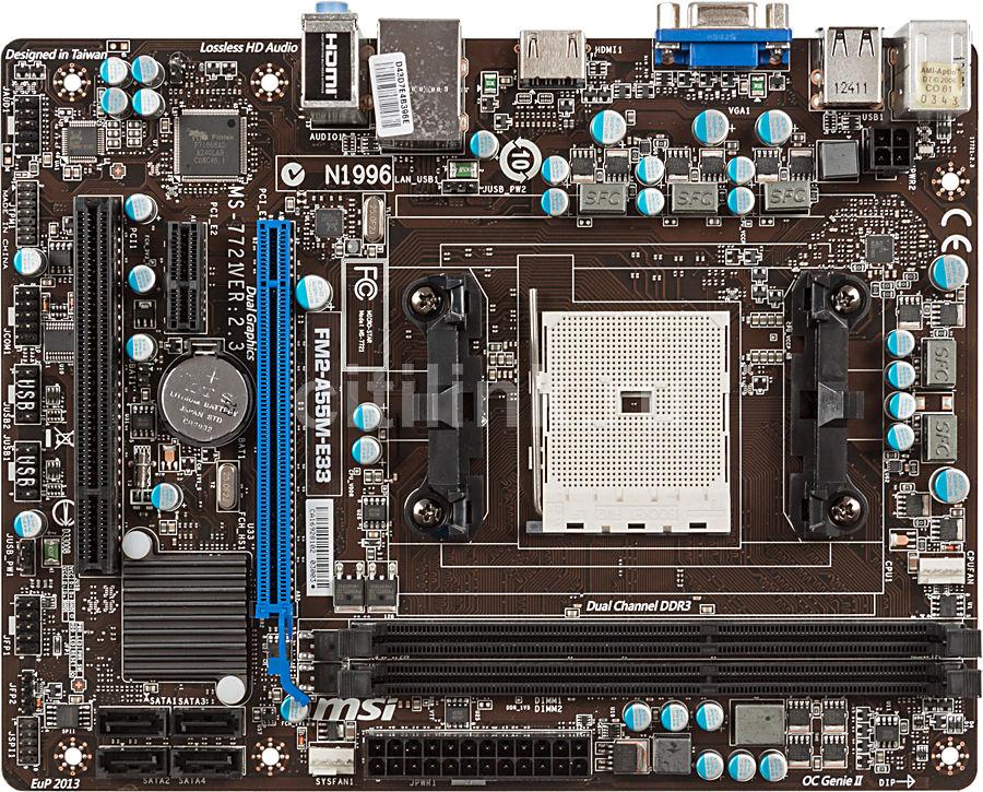 Материнская плата MSI FM2-A55M-E33 Socket FM2, mATX, Ret