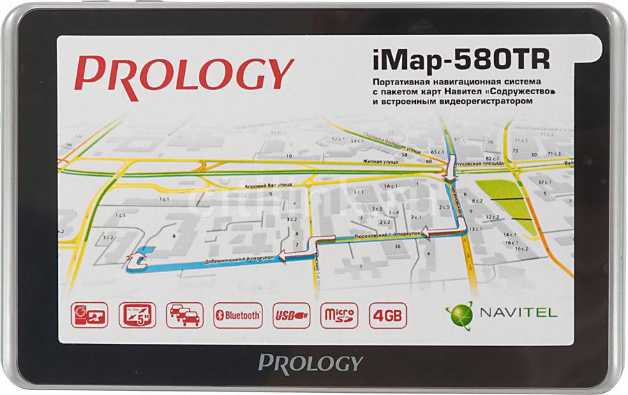"GPS навигатор PROLOGY iMAP-580TR,  5"",  авто, 4Гб, Navitel,  серебристый"