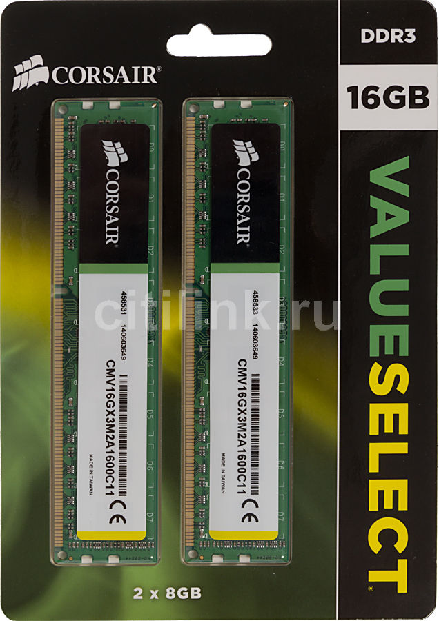 Модуль памяти CORSAIR CMV16GX3M2A1600C11 DDR3 -  2x 8Гб 1600, DIMM,  Ret