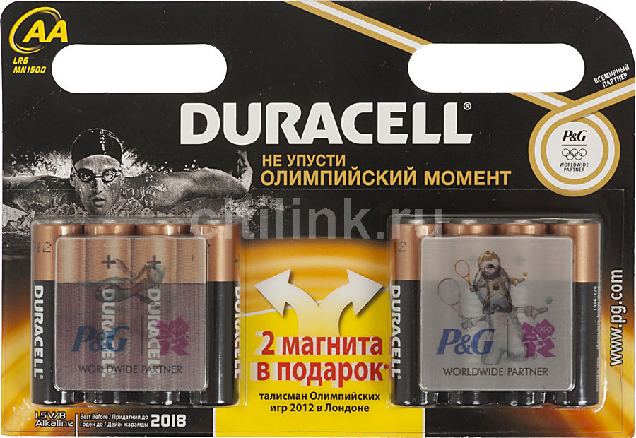 Батарея DURACELL Basic LR6-8BL + магнит олимпик,  8 шт. AA