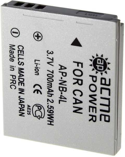 Аккумулятор ACMEPOWER AP-NB-4L, Li-Ion,  3.7В,  620мAч,  для компактных камер Canon IXUS 115HS/130/220HS/230HS/30/40/50/55/60/65/70/75/80IS/100IS/110IS