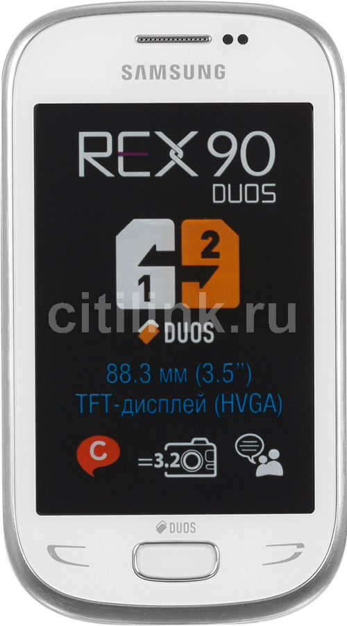 Мобильный телефон SAMSUNG Rex 90 Duos GT-S5292,  белый