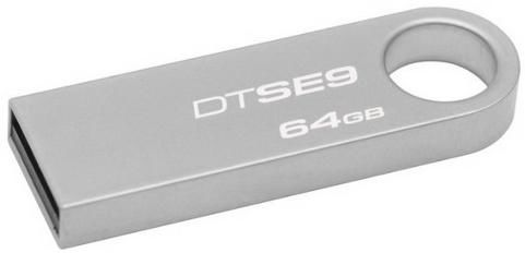 Флешка USB KINGSTON DataTraveler SE9 64Гб, USB2.0, серебристый [dtse9h/64gb-yan]