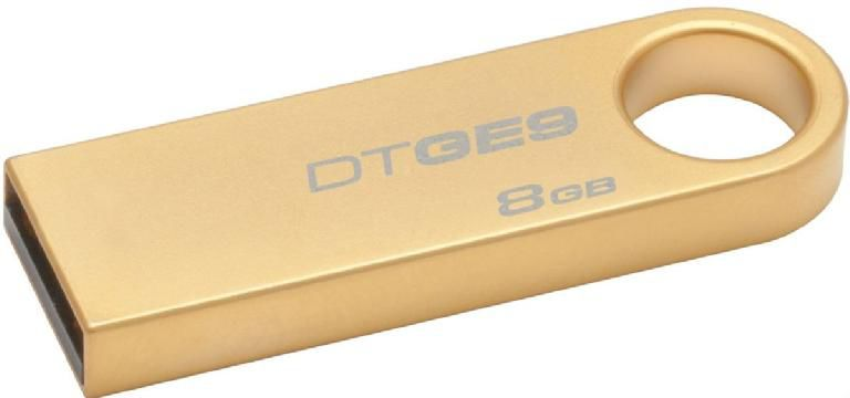 Флешка USB KINGSTON DataTraveler GE9 8Гб, USB2.0, золотистый [dtge9/8gb]