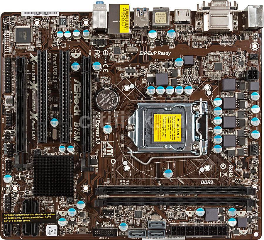 Материнская плата ASROCK B75M R2.0 LGA 1155, mATX, Ret