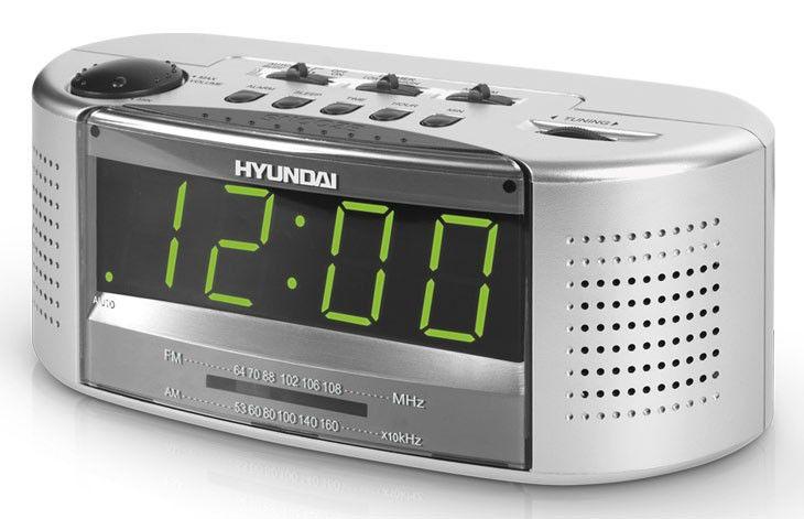 Радиобудильник HYUNDAI H-1510, зеленая подсветка,  серебристый
