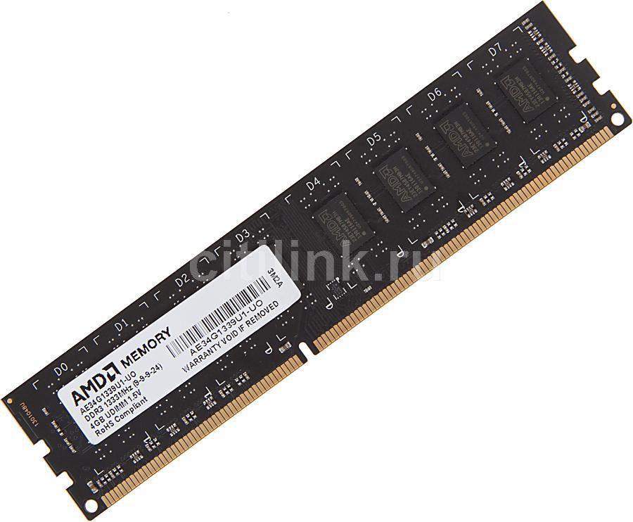 Модуль памяти AMD R334G1339U1S-UO DDR3 -  4Гб 1333, DIMM,  OEM