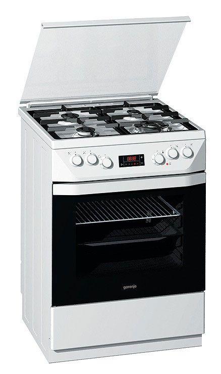 Газовая плита GORENJE K65345BW,  электрическая духовка,  белый