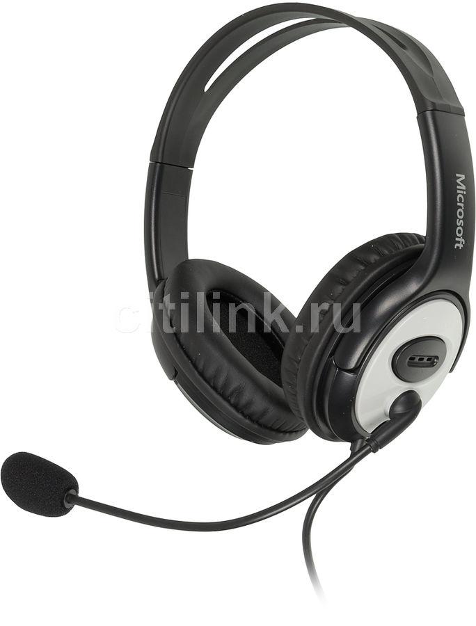 Наушники с микрофоном MICROSOFT LifeChat LX-3000,  JUG-00015,  мониторы, черный  / серебристый