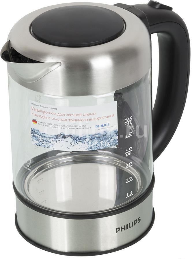 Чайник электрический PHILIPS HD9342, 2200Вт, серый и черный