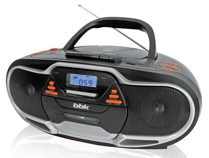 Аудиомагнитола BBK BX518UC,  черный и серебристый