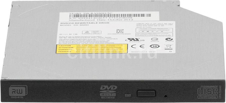 Оптический привод DVD-RW LITE-ON DS-8ACSH, внутренний, SATA, черный,  OEM