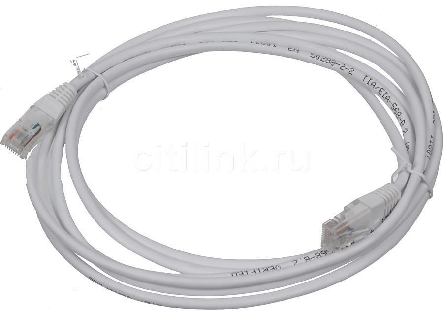 Патч-корд LANMASTER TWT-45-45-3.0-WH UTP, cat.5E, 3м, 4 пары, 26AWG,  1 шт,  белый